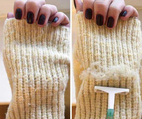 تراشیدن پرزهای لباس با ژیلت